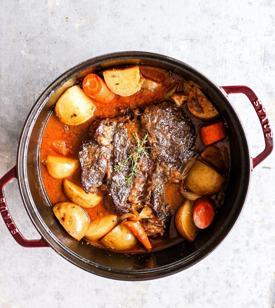 thedefineddishs hearty Dutch oven pot roast is keeping our Monday blues at bay What are you cooking in cast iron this week
