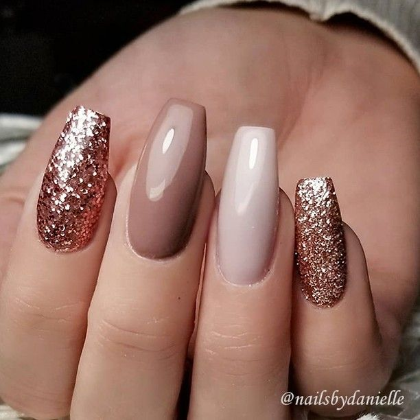 Repost Rose Gold Glitter Caramel And Ivory On Coffin Nails Picture And Nail Design By Nails Coffin Shape Nails Rose Gold Nails Nail Designs