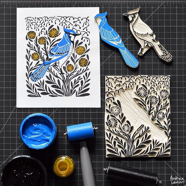 Andrea Lauren (@inkprintrepeat) | Enjoying an early morning printing session with this new bluejay scene I finished carving yesterday! Looking forward to a busy design workday and ticking the boxes on my to-do list. | Intagme - The Best Instagram Widget