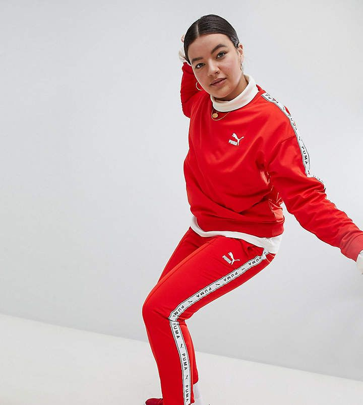 84762dee891 Puma Exclusive To ASOS Plus Taped Side Stripe Track Pants In Red ...