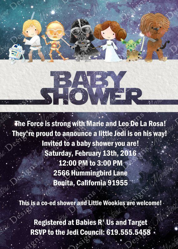 Watercolor Star Wars Baby Shower Birthday Party Invitation Outer Space Galaxy Hand Drawn DIGITA