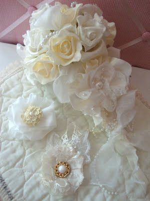 Gorgeous Flower Bouquet Using A Vintage Wedding Dress Wedding
