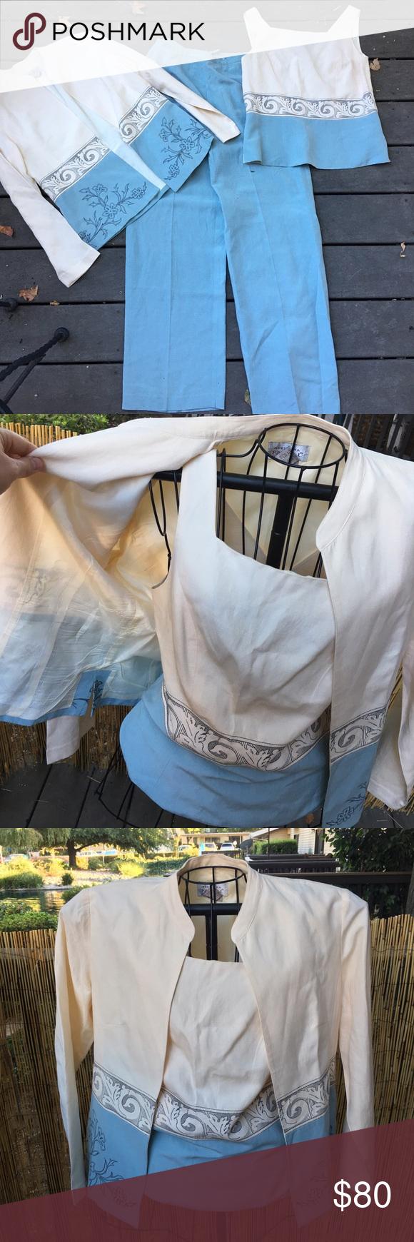 Vintage silk Adrianna Papell 3 piece suit Perfect condition! Real silk Adrianna Papell Tops