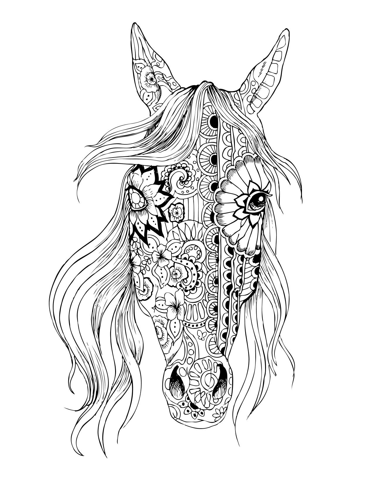 Paard Hoofd Zen Horse Coloring Pages Animal Coloring Pages Horse Coloring Books [ 1636 x 1253 Pixel ]