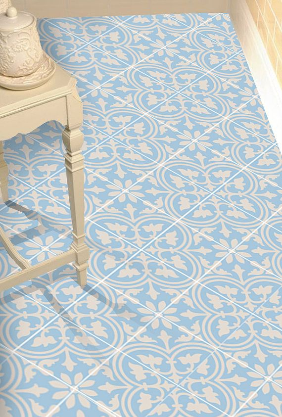Vinyl Floor Tile Sticker - Floor decals - Carreaux Ciment Encaustic Trefle 2 Tile Sticker Pack in Vista Blue