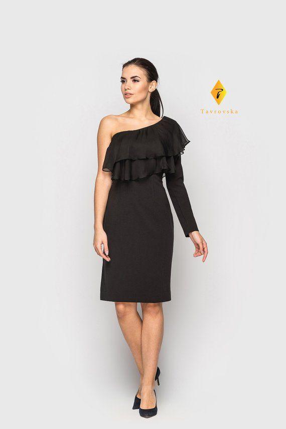 590a22e75c3 One shoulder Little Black Dress, Asymmetric Cocktail Pencil Dress with  chiffon ruffles, Bridesmaid L