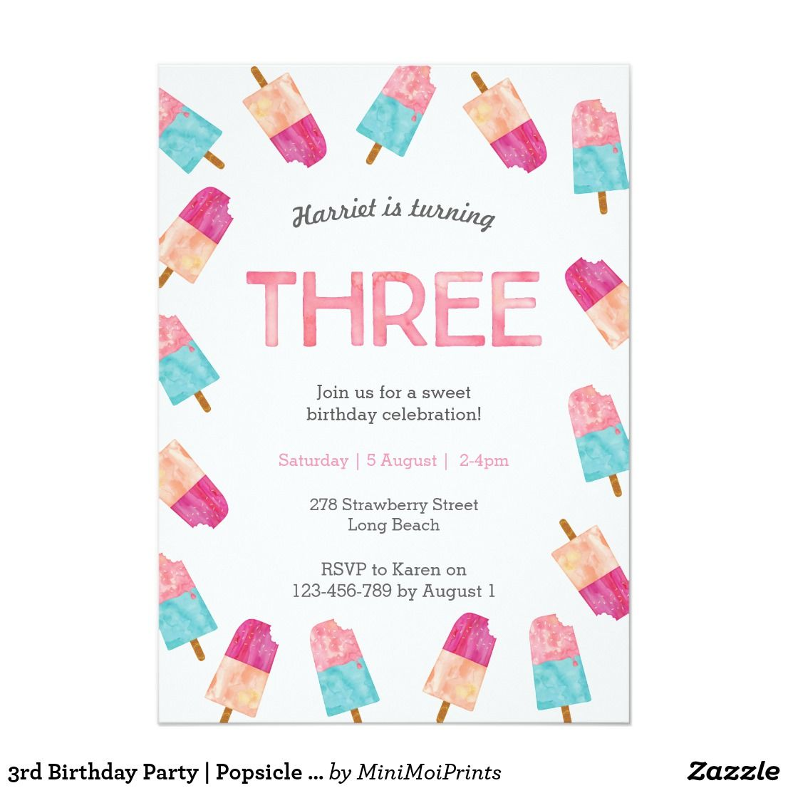 3rd Birthday Party | Popsicle Ice cream invitation | Party ...