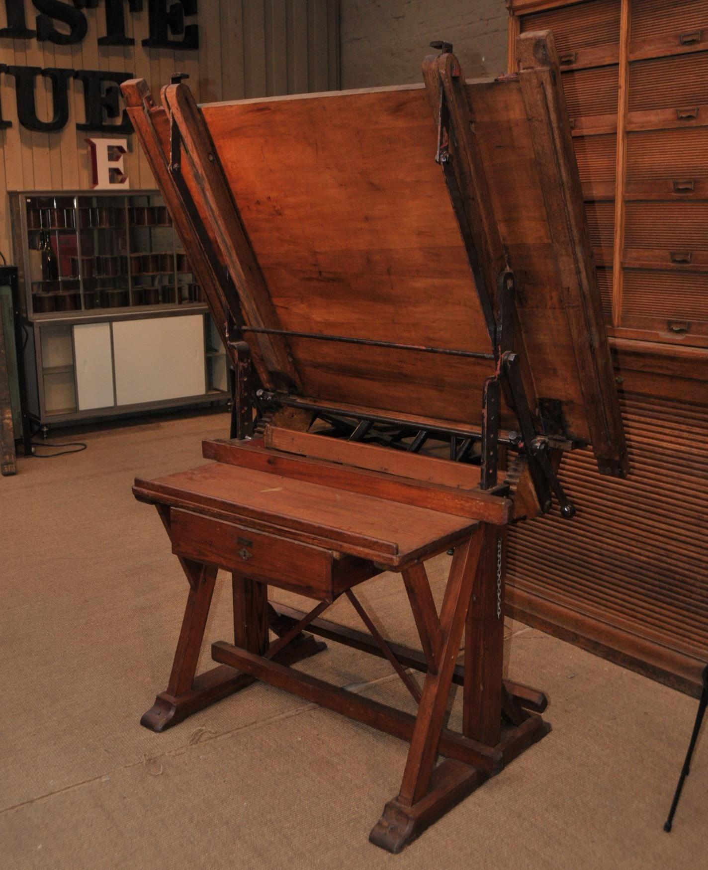 Ancienne Table D Architecte Réglable 1900 Le Grenier