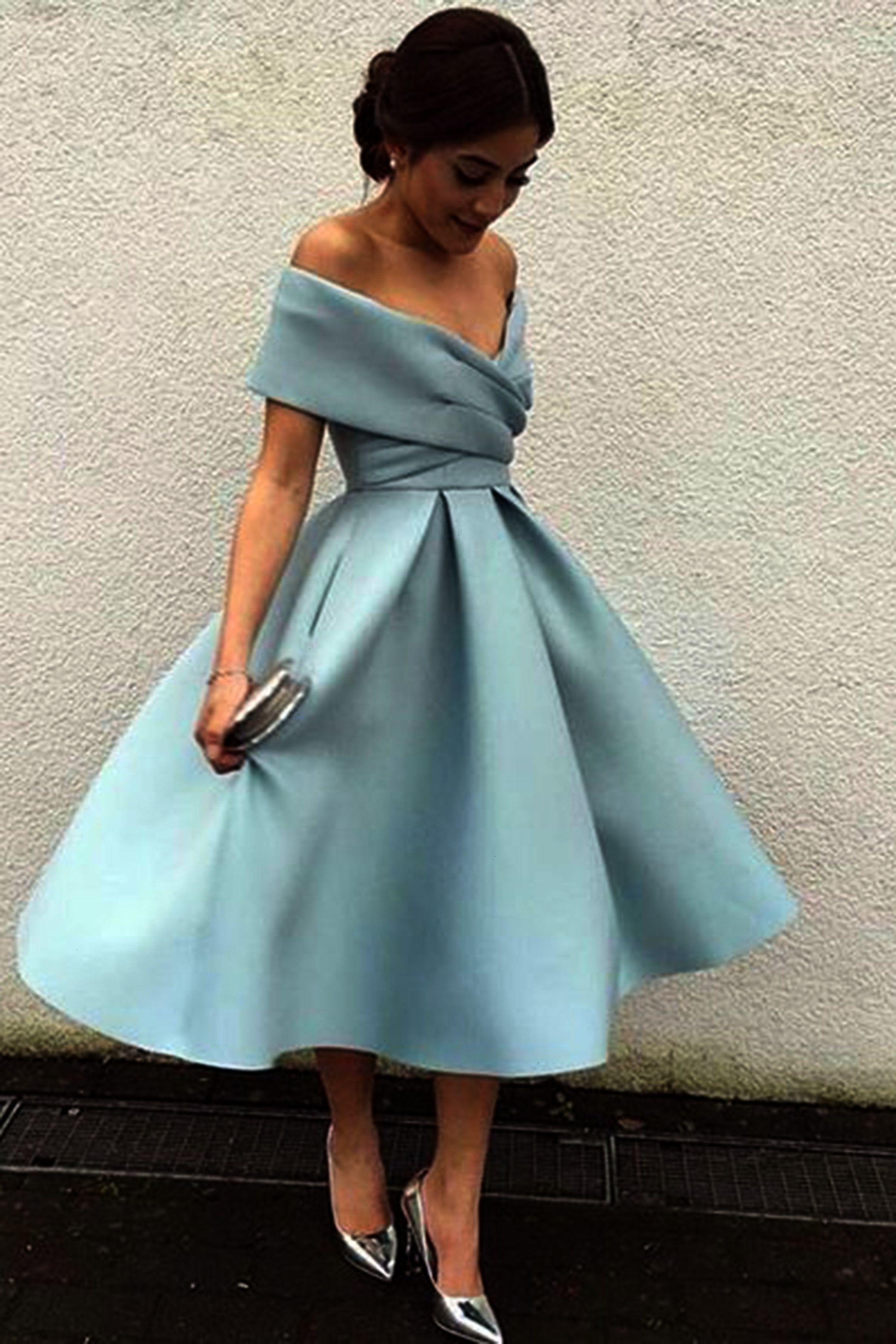 15233acb2bcc Light blue chiffon off-shoulder A-line knee-length dress formal dress