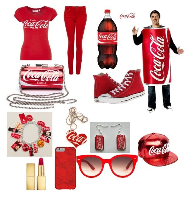 Red Coca Cola by bribriswag on Polyvore featuring Paige Denim, Converse, Equipment, New Era and AERIN