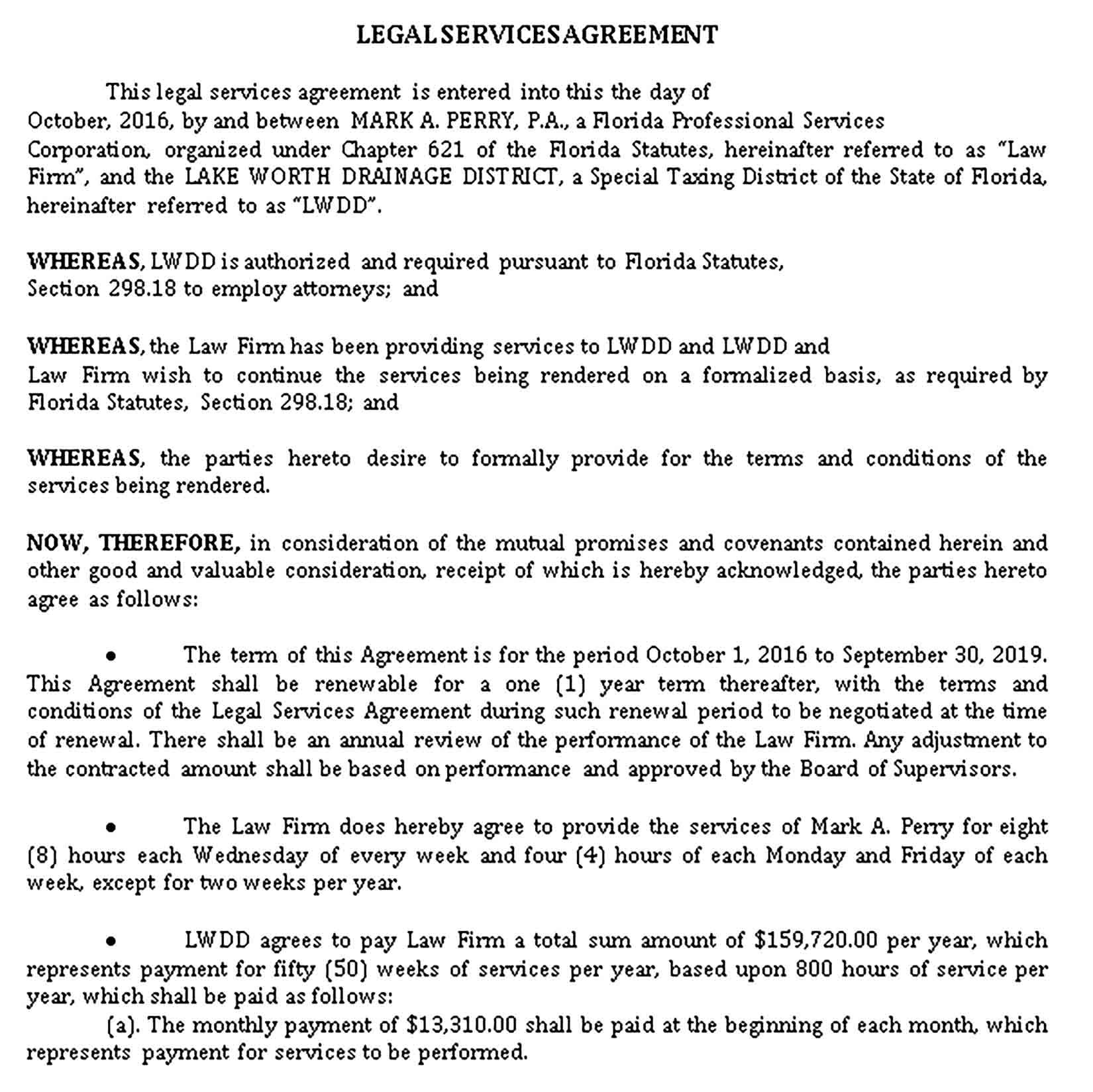 Legal Services Agreement Sample Template Legal Services Legal Agreement
