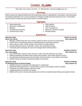 Data Entry Clerk Resume Sample Professional Resume