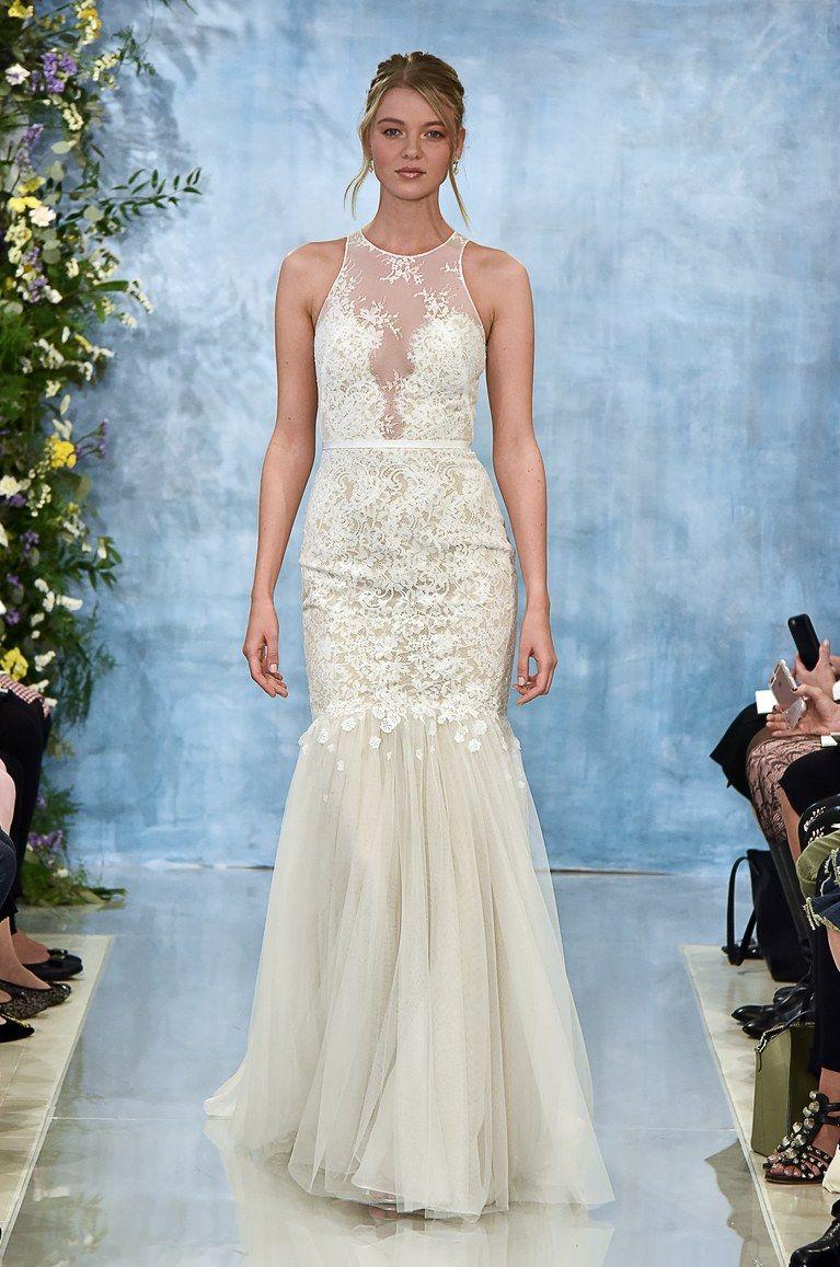 Theia Lace Illusion Neckline Sleeveless Trumpet Wedding Dress Fall ...