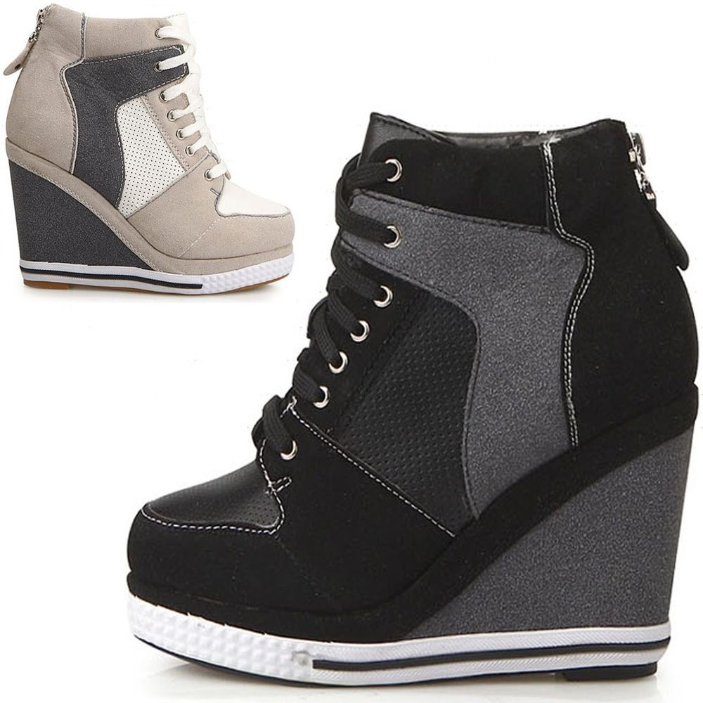 7cc5d2eaef761 Womens ladies platform wedge booties high heels sneakers shoes lace up US  7~8