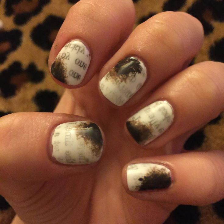 25 best nail art with newspaper print | Newspaper printing and ...