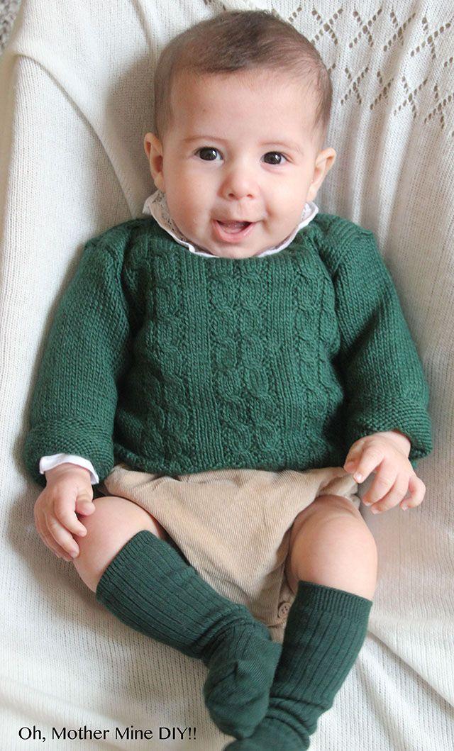 Tutorial y patrones gratis Jersey de ochos para bebé | Πλεκτα για ...