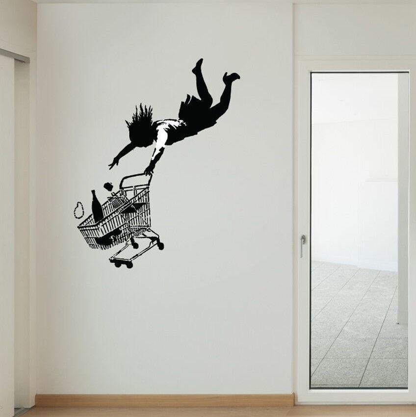 Banksy Fall Shopping Cart Wall Decal Wall decals, Banksy