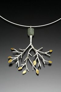 """Tree Pendant with Aquamarine on Cable""  Gold, Silver, & Stone Necklace    Created by Sarah Hood"
