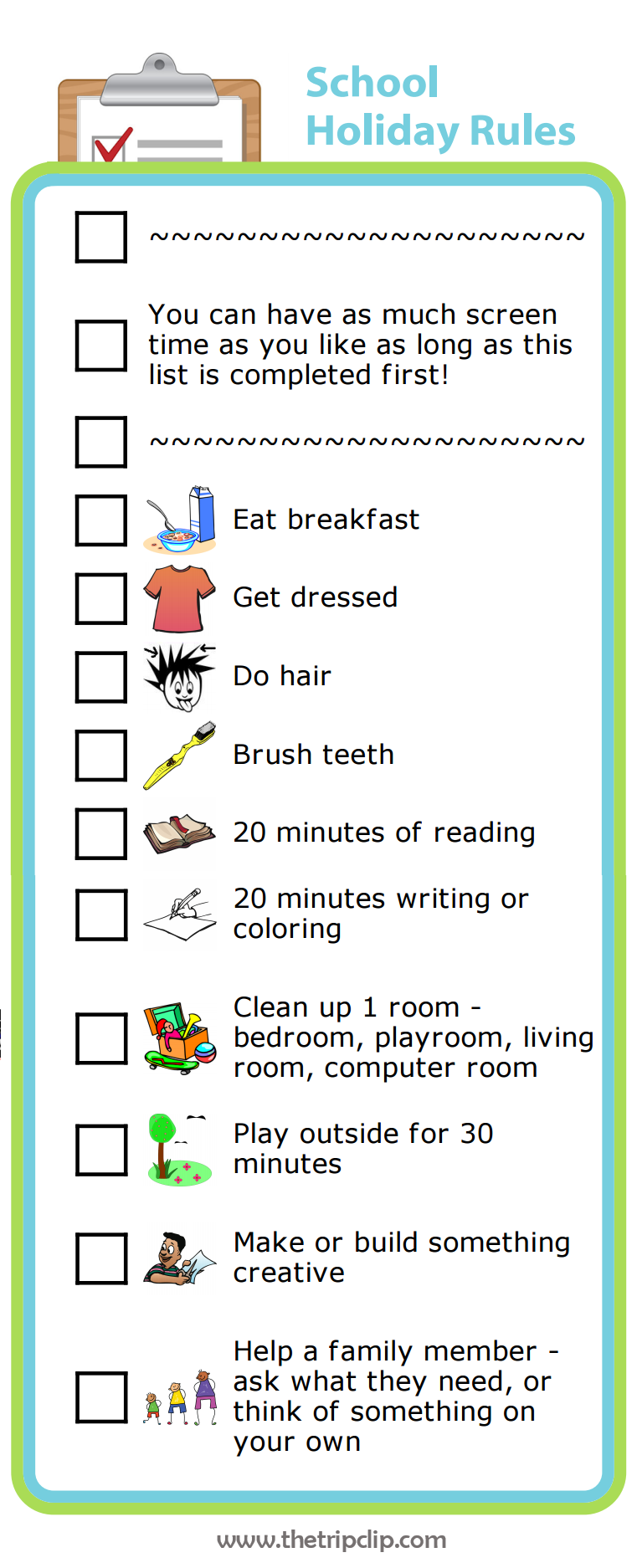 Custom checklist maker plus lots of other printable activities for kids list maker screens for How to make your bedroom smell good all the time