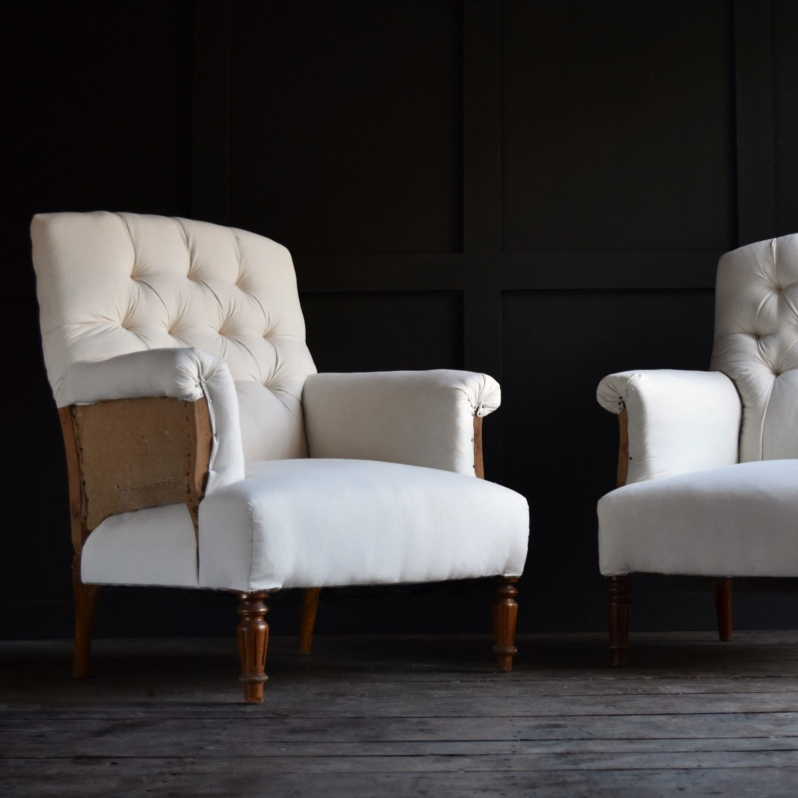 Pair Of French Buttoned Armchairs Upholstery Inc Hunter Rose
