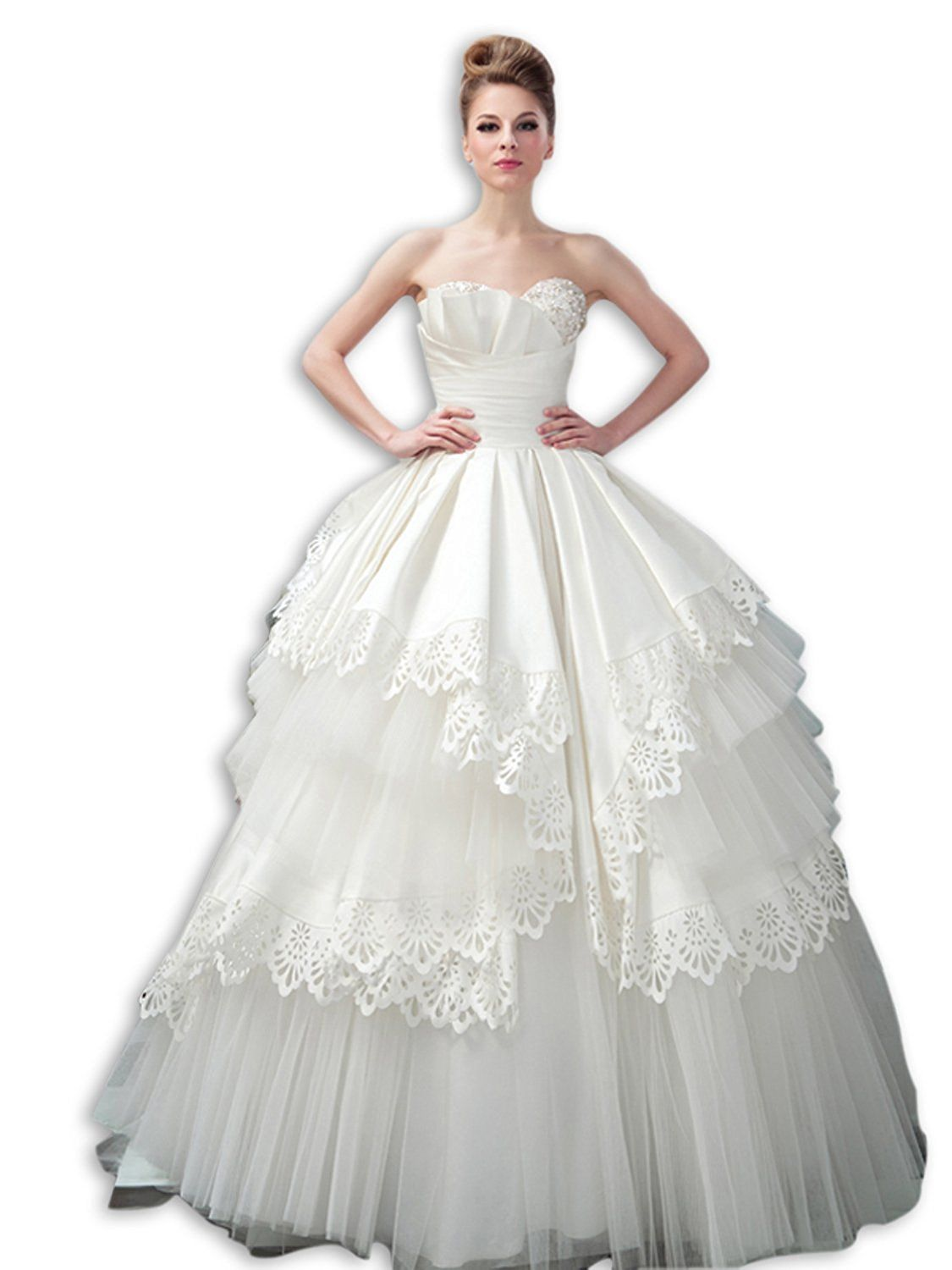 VERCART Women's Scalloped Wedding Dresses With Cut Flowers Ball Gown * Learn more by visiting the image link. (This is an affiliate link and I receive a commission for the sales)