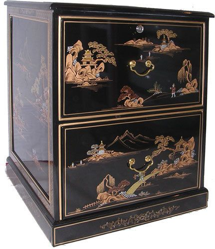 h.Oriental Black Lacquer  Drawer File Cabinet Hand Painted