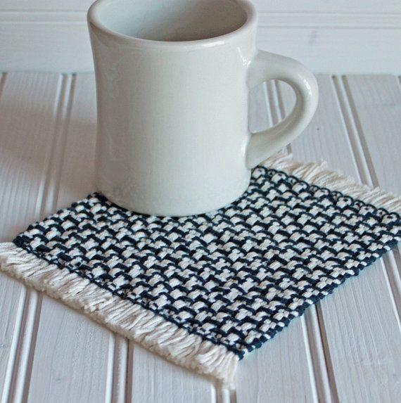 Handwoven Mug Rug Coaster Set In Navy Blue Handmade By Nutfield Weaver Rigid Heddle Weaving Mug Rug Tapestry Weaving