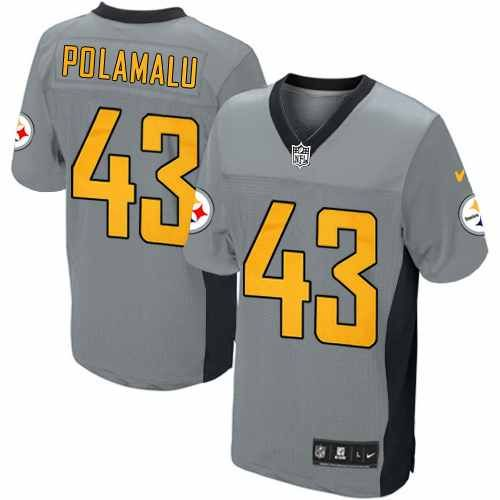 40bd750d9d6 Nike Elite Mens Pittsburgh Steelers #43 Troy Polamalu Shadow Grey NFL Jersey $129.99