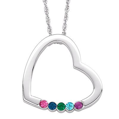 Mother S Birthstone Heart Pendant In Sterling Silver 5