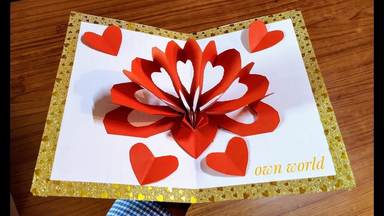 Diy 3d heart pop up card valentine pop up card