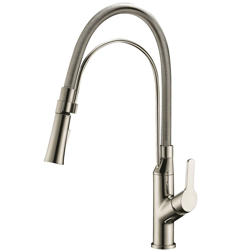 Dawn Brushed Nickel Single-lever Pull-out Kitchen Faucet (Brushed ...