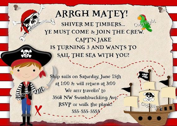 pirate birthday invitation pirates treasure party boy or girl, Birthday invitations