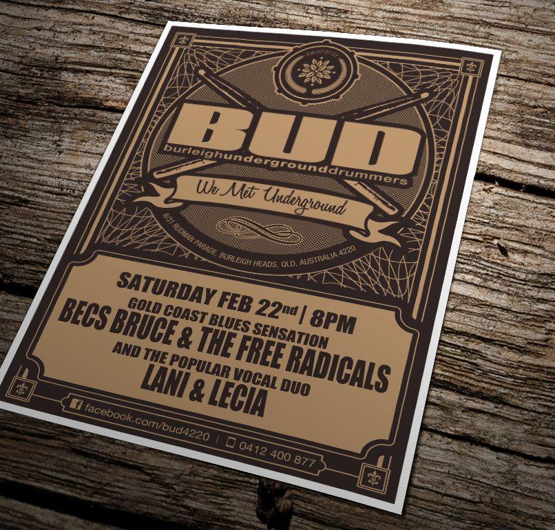 Poster design for Burleigh Underground Drummers