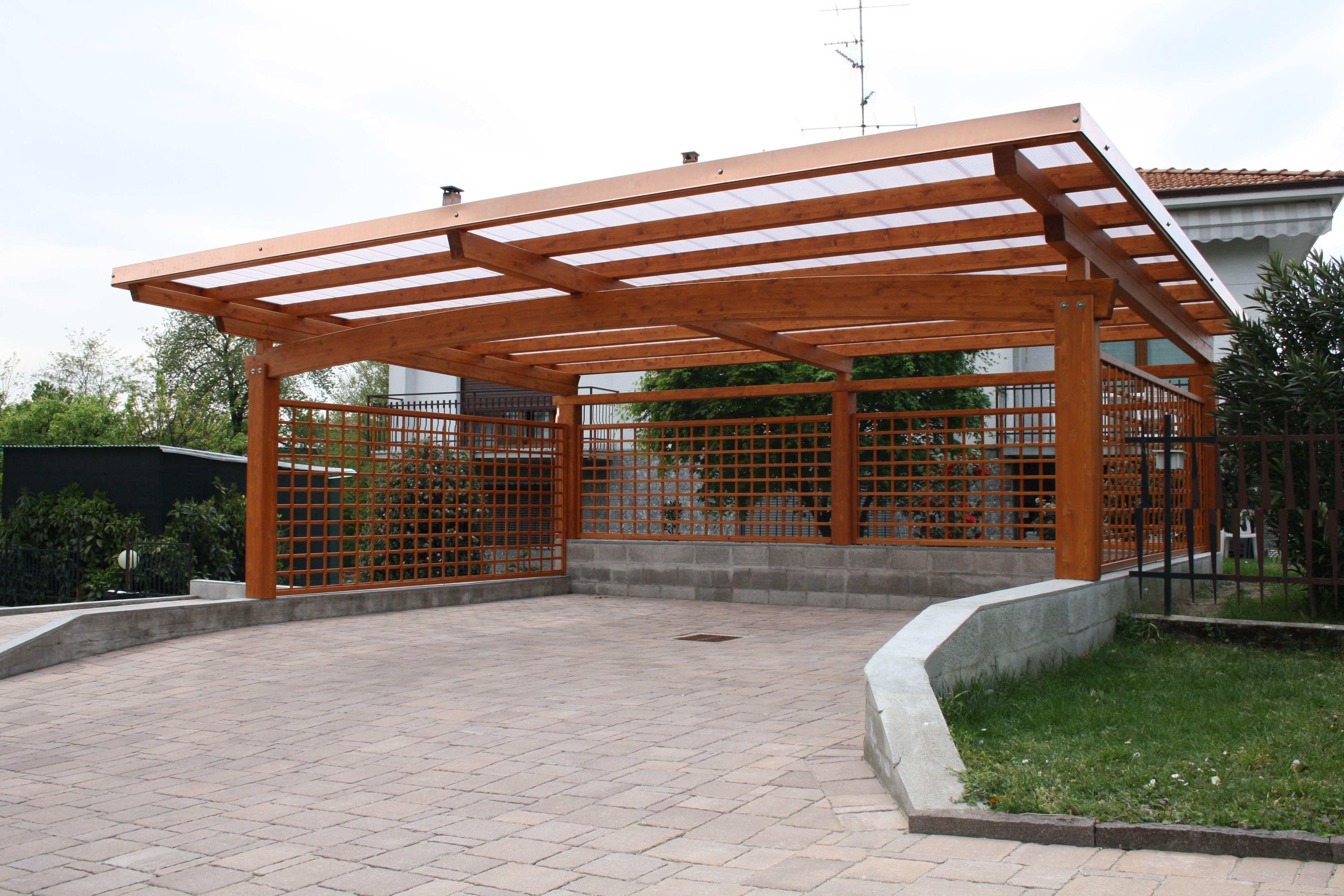 Carport arco tettoia auto 3 posti con copertura in for Pergola policarbonato