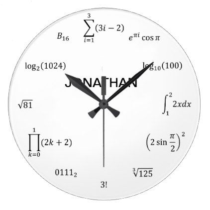 Math Equations And Notations Large Clock Zazzle Com Math Clock Clock Large Clock Decor