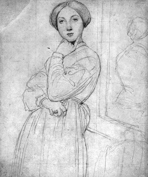 Portrait of Madame d'Haussonville  by Jean-Auguste-Dominique Ingres, ca. 1842, graphite, 9 3/16 x 7¾.  Collection The Fogg Art Museum  at Harvard University,  Cambridge, Massachusetts.