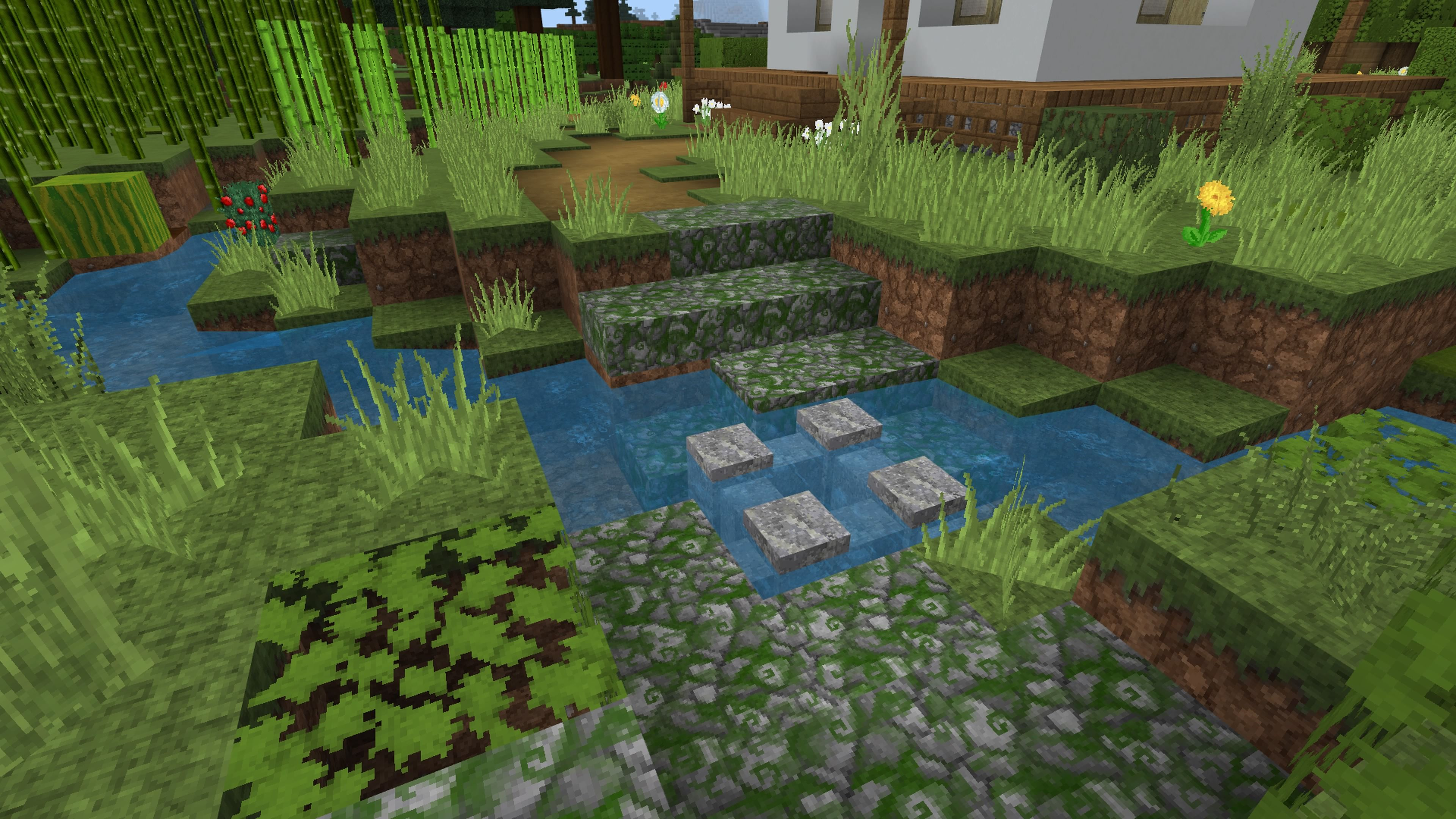 Path Across Creek Minecraft Cottage Cute Minecraft Houses Minecraft Projects