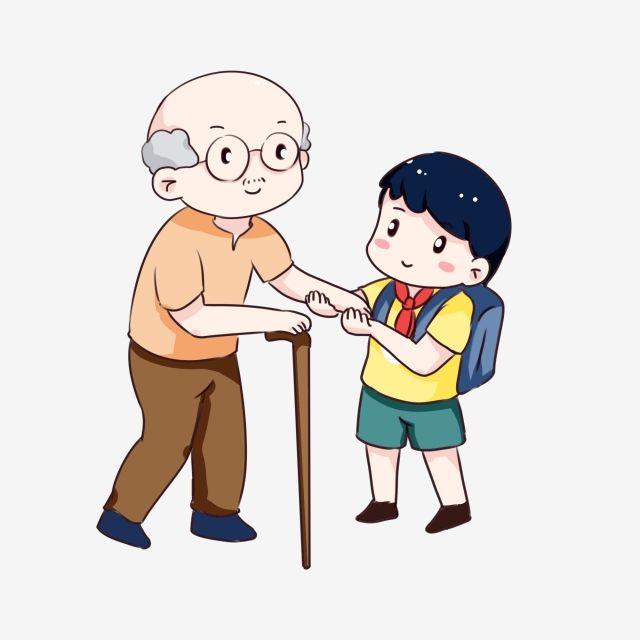 ومن ناحية رسم الكرتون مساعدة الرجل العجوز الطريق احترام المسنين مساعدة كبار السن على الطريق طالب المدرسة الابتدائية الرجل العجوز المرسومة مرسومة باليد نسخة Q How To Draw Hands Family Drawing