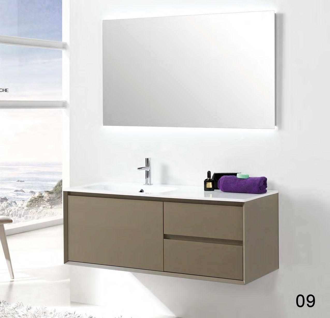 Mueble ba o 120cm tebas suspendido en textura lacado o for Muebles para banos grandes