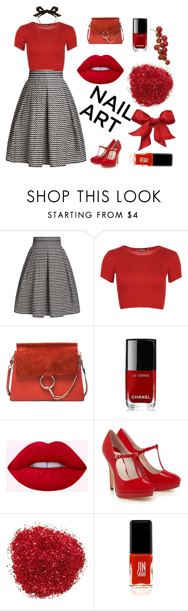"""Red Nails"" by mandeerose ❤ liked on Polyvore featuring beauty, Rumour London, WearAll, Chloé, Chanel, JINsoon and Lanvin"