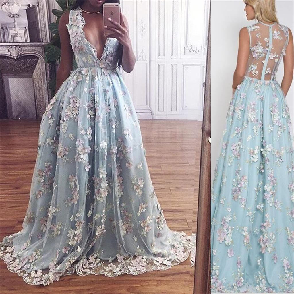 custom blue lace elegant prom dresses vneck party dress