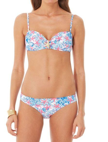 76001e491ddfd Lilly Pulitzer Peachie Convertible Bandeau Bikini Top in She She Shells