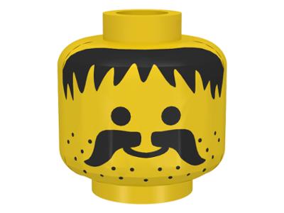 Lego Yellow Minifig Head Dual Sided Black Brows Left Raised Sunglasses