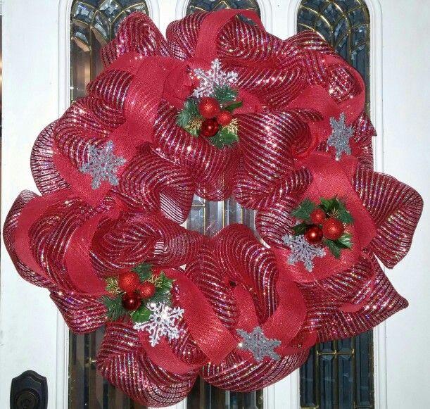 Christmas mesh ribbon wreath.