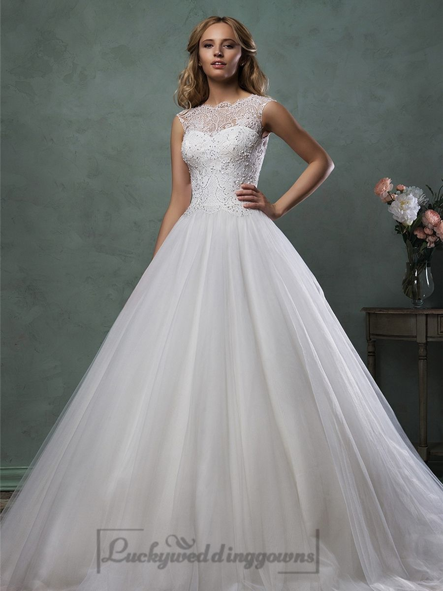 Sleeveless bateau neckline beaded bodice aline wedding dress