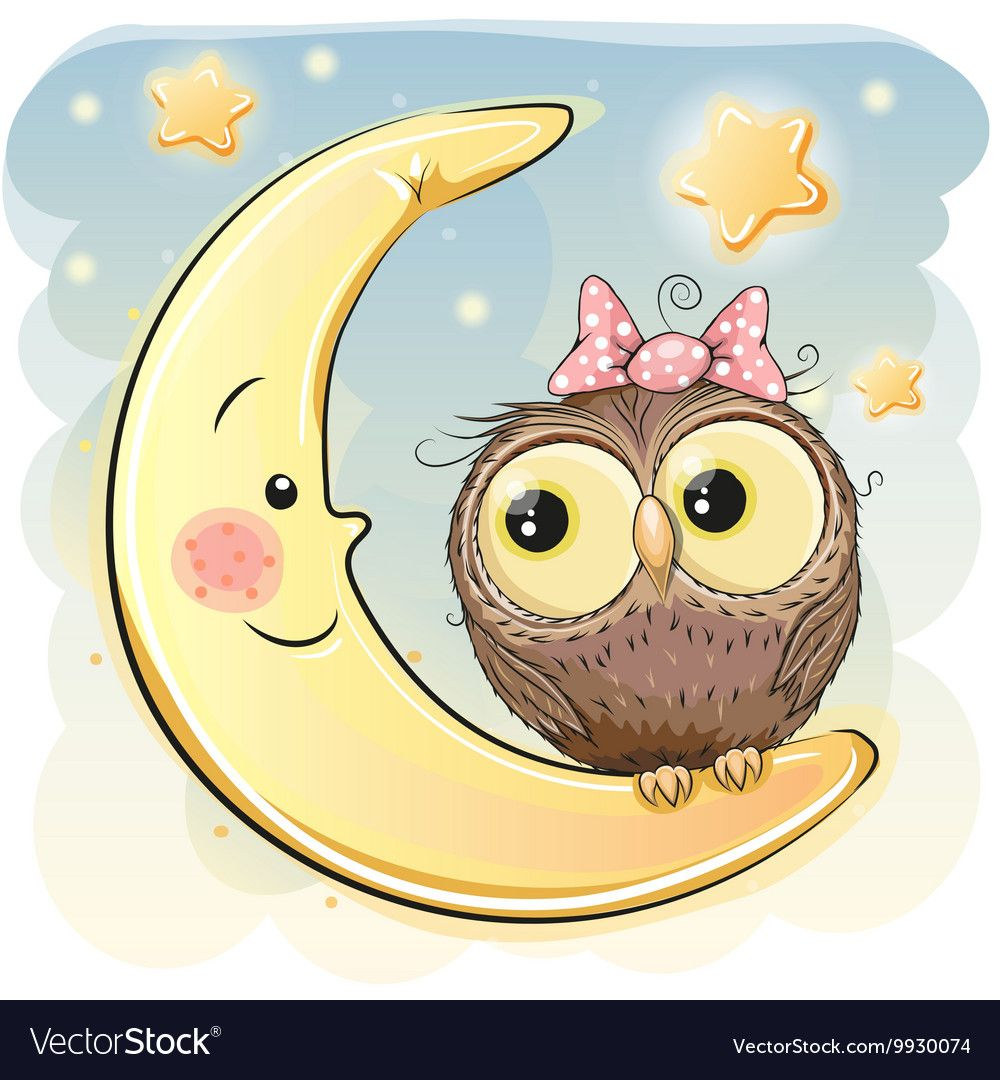 Owl on the moon Royalty Free Vector Image - VectorStock ...