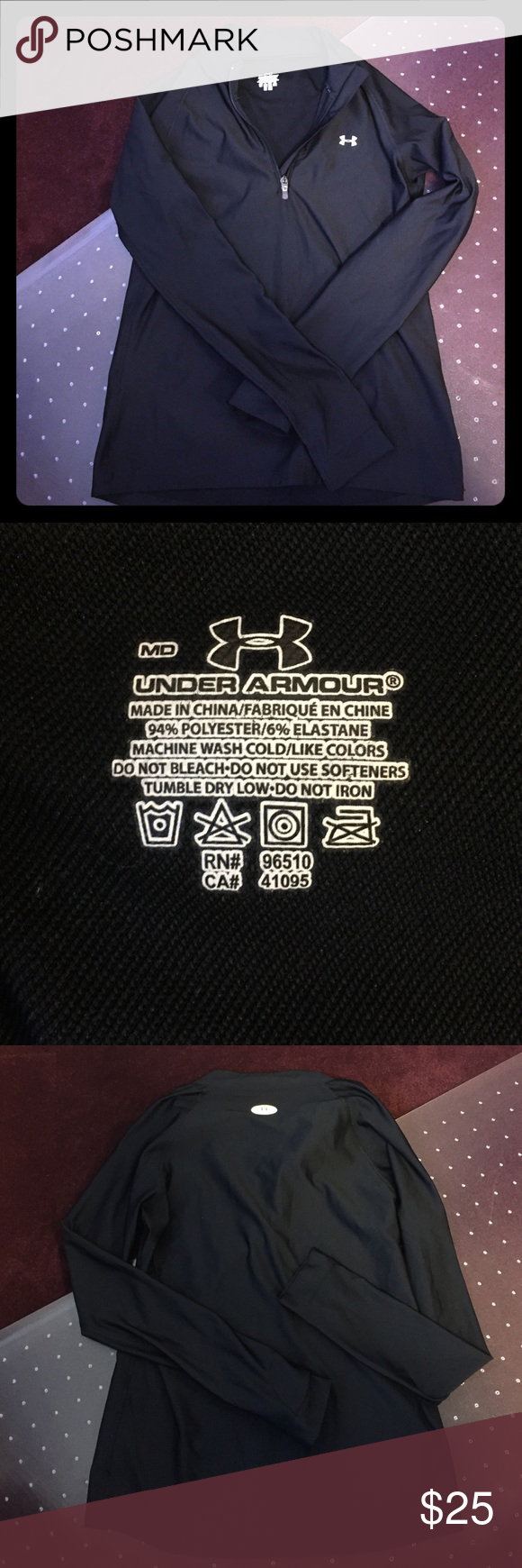 GREAT CONDITION UA 1/4 zip. Black in color. Size M UA Size M long sleeve 1/4 zip! This is more on the s/m side. It's definitely a slim fit cut. Great condition! Just doesn't fit. Light weight but still cozy! Under Armour Tops Sweatshirts & Hoodies