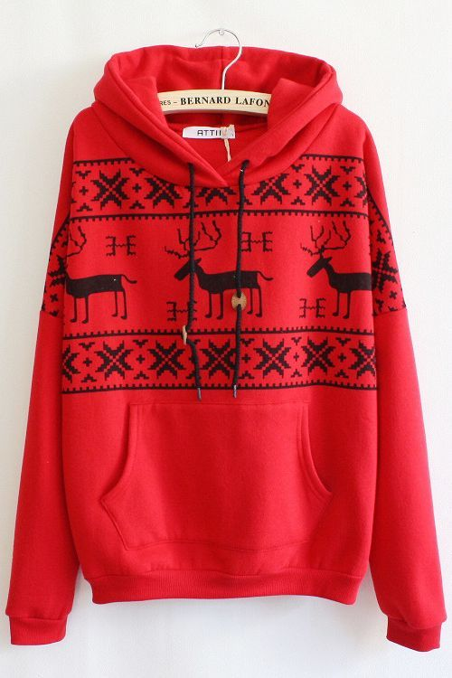 Red and Black Fawn Hoodie | fashion | Pinterest | Hoodie, Black ...