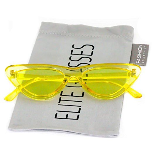fa2f0936092c Amazon.com  Cat Eye Sunglasses Clout Goggle Sexy Women Exaggerated Slim Frame  Colorful Tinted Lens (Black   Pink Mirror