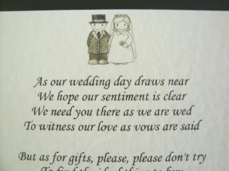 Wedding Invitation Wording For Monetary Gifts: 20 Wedding Poems Asking For Money Gifts Not Presents Ref